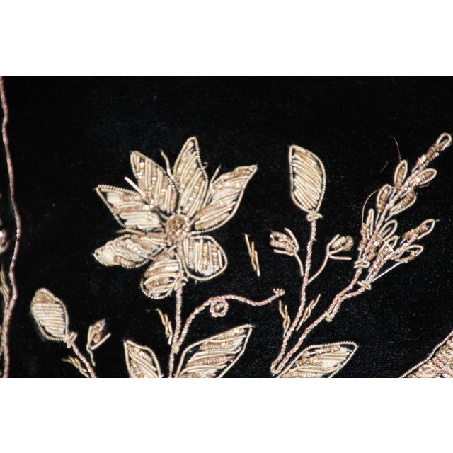 Black Velvet Throw Pillow Embroidered With Metallic Gold Threads For Sale - Image 12 of 13