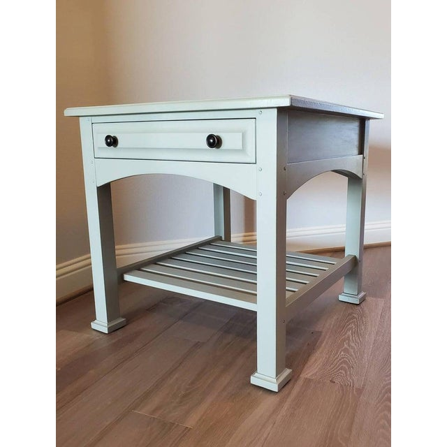 Traditional Drexel Heritage Artisan Bungalow Collection Painted Tiered Side Table For Sale - Image 3 of 11