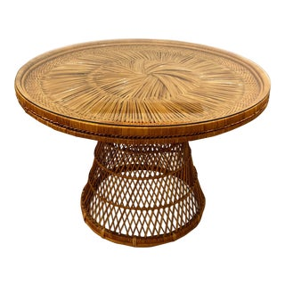 1970s Vintage Glass and Wicker Dining Table For Sale