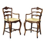 Image of Country French Style Walnut Bar Stools- A Pair For Sale
