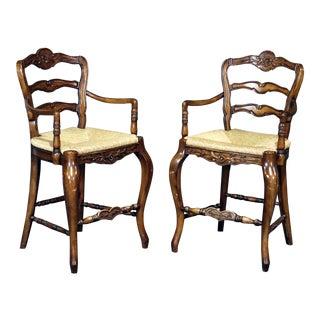 Country French Style Walnut Bar Stools- A Pair For Sale