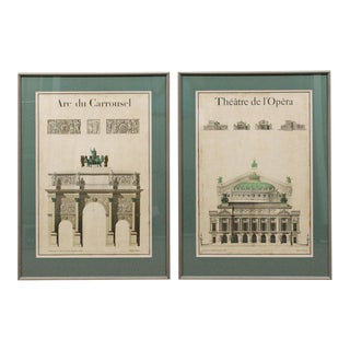 Beautiful Pair of Antique Posters of 19th Century Architectural Engravings For Sale