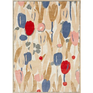 Schumacher Patterson Flynn Martin Promenade De Printemps Grande Hand Knotted Wool Silk Modern Rug For Sale