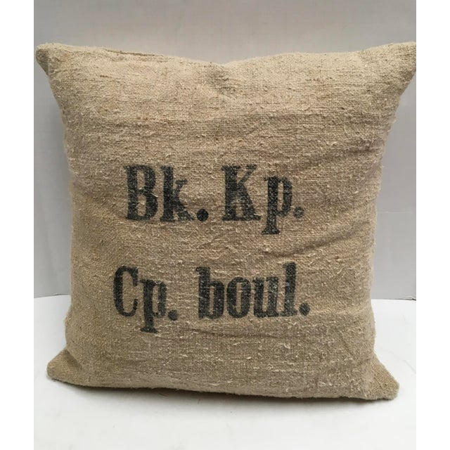 "Custom pair of 20x20"" pillows created from vintage Swiss Grain Sacks. The front has the lettering from the Swiss mill that..."