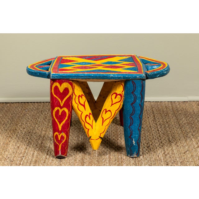 African Painted Wood Stool For Sale In Los Angeles - Image 6 of 7