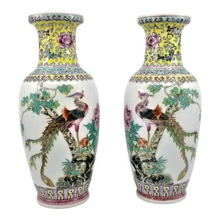 Pair of Famille Rose Phoenix Porcelain Vases- Signed - Asian Chinese Chinoiserie Palm Beach Boho Chic Mid Century For Sale