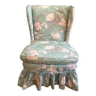 1990s Vintage Floral Chintz Slipper Chair For Sale