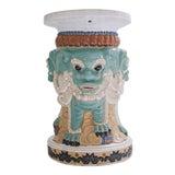 Image of 1960s Ceramic Three Sided Foo Dog Garden Stool For Sale