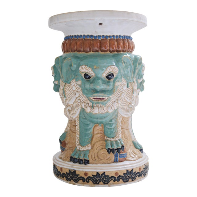 1960s Ceramic Three Sided Foo Dog Garden Stool For Sale