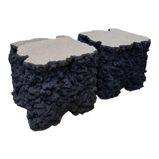 Lava Rock Mirror Top Side Tables - a Pair