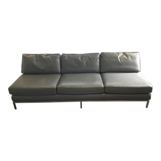 1960s Vintage Edward Wormley for Dunbar Leather Sofa For Sale
