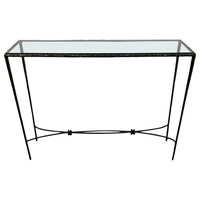 French Modern Cast Bronze and Glass Console Table For Sale