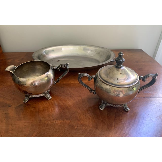 Silver Antique Silver Cream & Sugar Set- 3 Pieces For Sale - Image 8 of 11