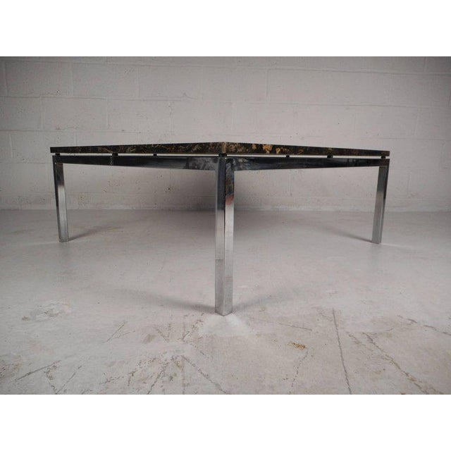 This Gorgeous Vintage Modern Coffee Table Features A Square Marble Top And Heavy Chrome Frame