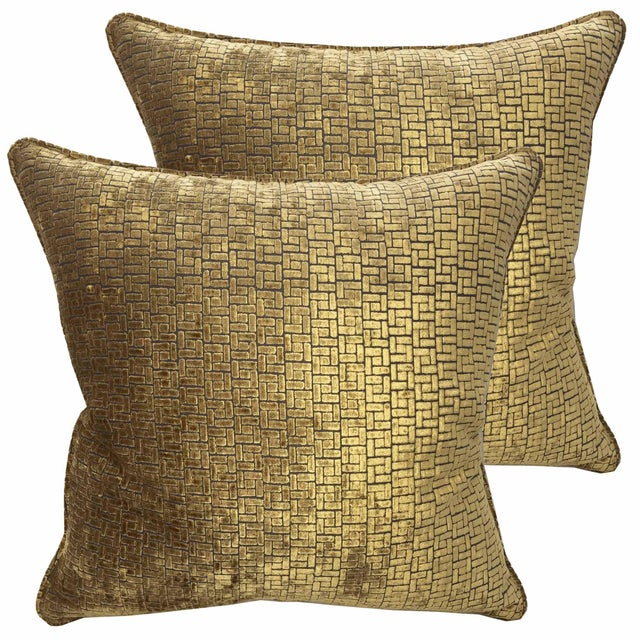 Fabricut Bronze Velvet Pillows - a Pair For Sale