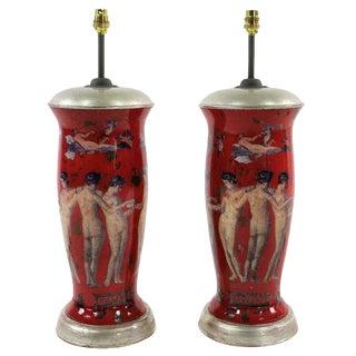 Pair of Declamania Lamps Depicting Pompeian Scenes For Sale