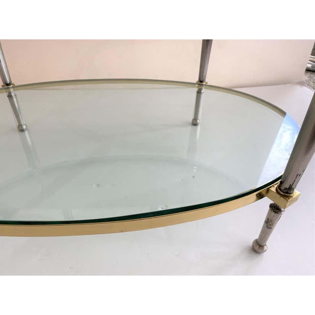 Trouvailles Steel Glass and Brass Oval Cocktail Table For Sale - Image 10 of 13