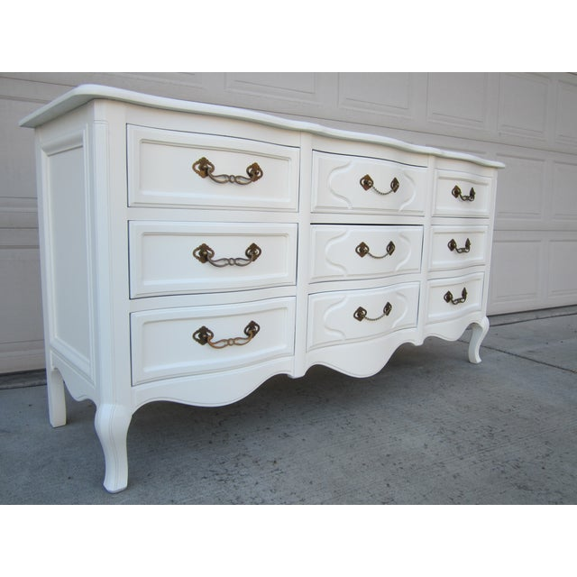 Drexel White Vintage French Country Dresser - Image 3 of 9