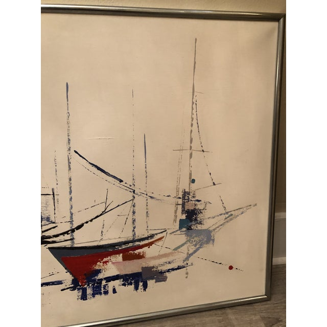 White 1970s Vintage Jp Collin Abstract Sailboat Painting For Sale - Image 8 of 9