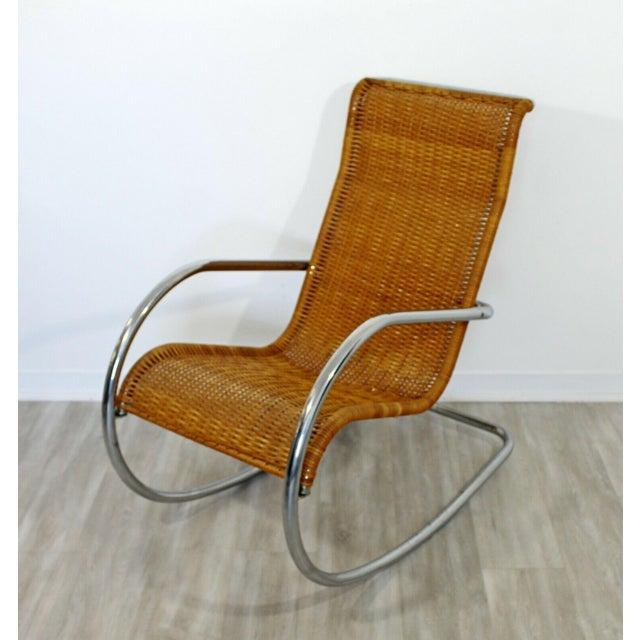1970s Mid Century Modern Italian Rattan Tubular Chrome Rocker Rocking Chair Italy 70s For Sale - Image 5 of 12