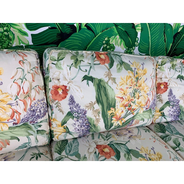 Pair of Floral Upholstered Sofas by Robb and Stucky For Sale - Image 6 of 10