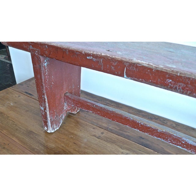 Outstanding 19Th Century French Xix Small Painted Pine Bench Andrewgaddart Wooden Chair Designs For Living Room Andrewgaddartcom
