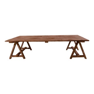 Rustic Style Coffee Table in Original Light Blue/Grey Finish For Sale