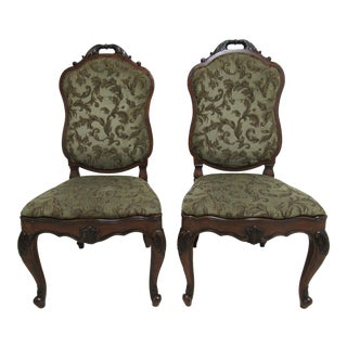 1990s Vintage Henredon French Empire Dining Room Side Chairs - a Pair For Sale