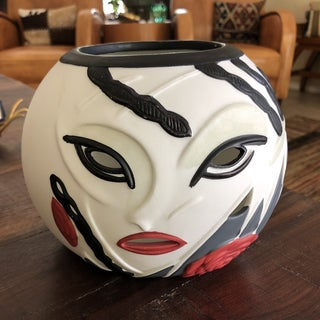 1980s Vintage Nagel Style Contemporary Black and White Cut Out Face Vase Preview