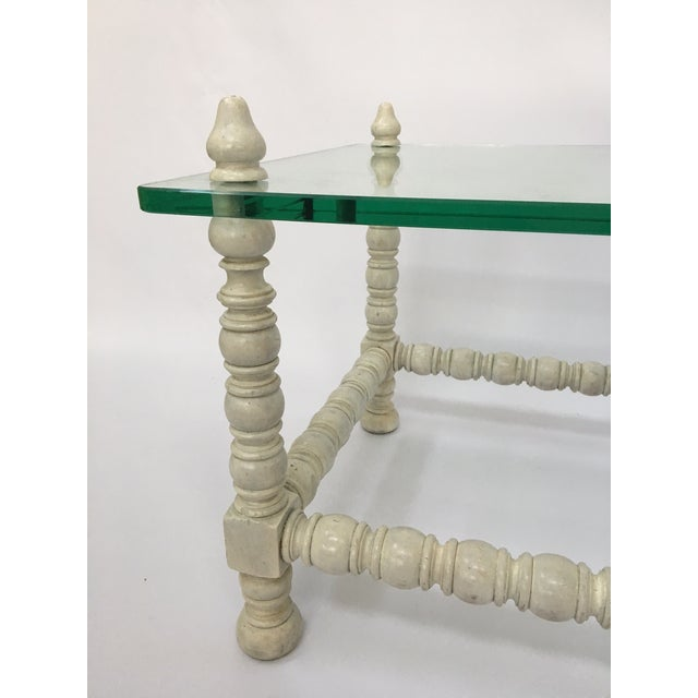 Hollywood Regency Wood & Glass Bobbin Leg Coffee Table - Image 3 of 6