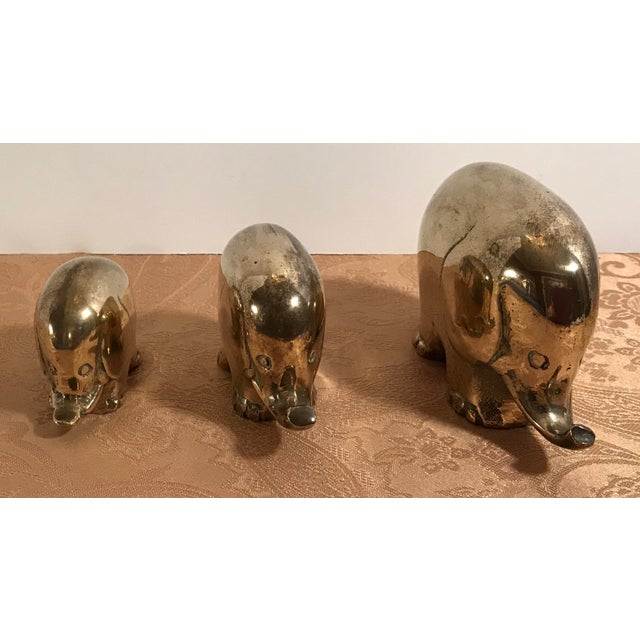 Art Deco Art Deco Style Brass Elephants - Set of 3 For Sale - Image 3 of 8