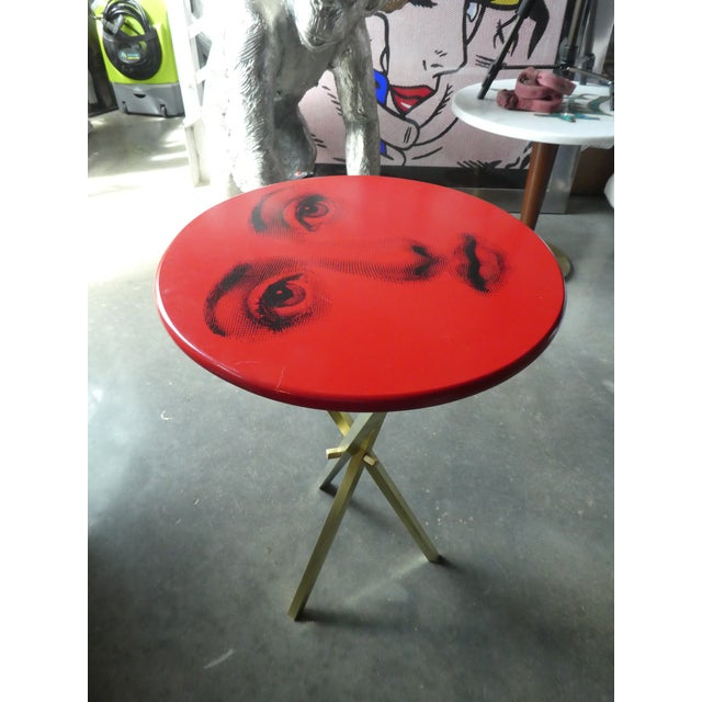 1960s Vintage Fornasetti Red Julia Side Table For Sale - Image 5 of 8