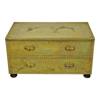 Vintage Sarreid Two Drawer Brass Studded Campaign Style Low Chest of Drawers For Sale