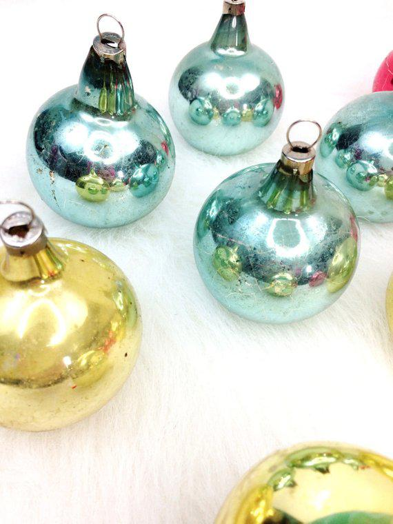 Vintage Mixed Solid Czech Ball Christmas Ornaments Set Of  For Sale Image