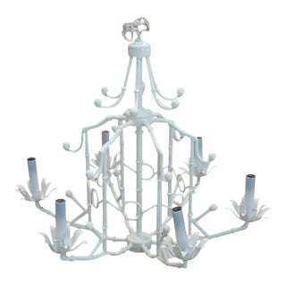 Chinoiserie Lacquered Faux Bamboo Pagoda Chandelier For Sale