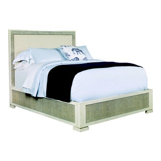 Century Furniture San Remo Queen Bed, French Gray and Flax For Sale