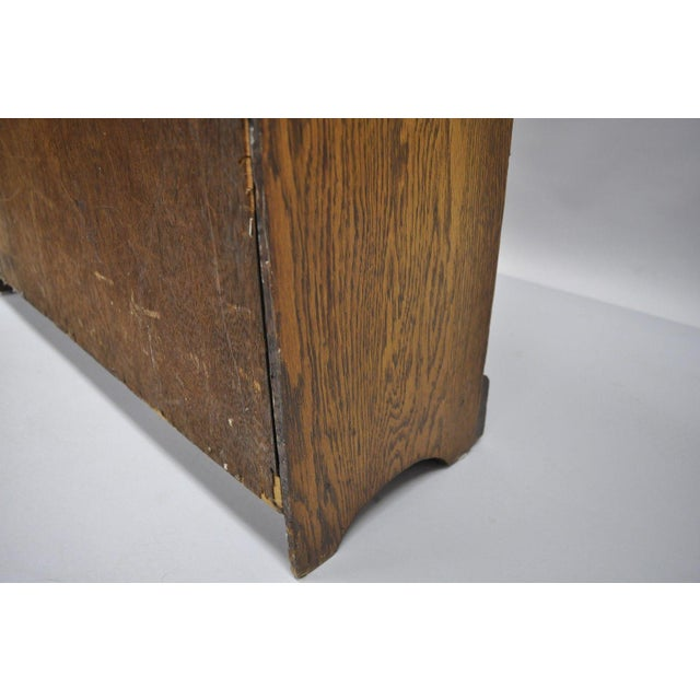 Mid Century Mission/Arts and Crafts Style Oak Two-Shelf Bookcase For Sale - Image 9 of 13