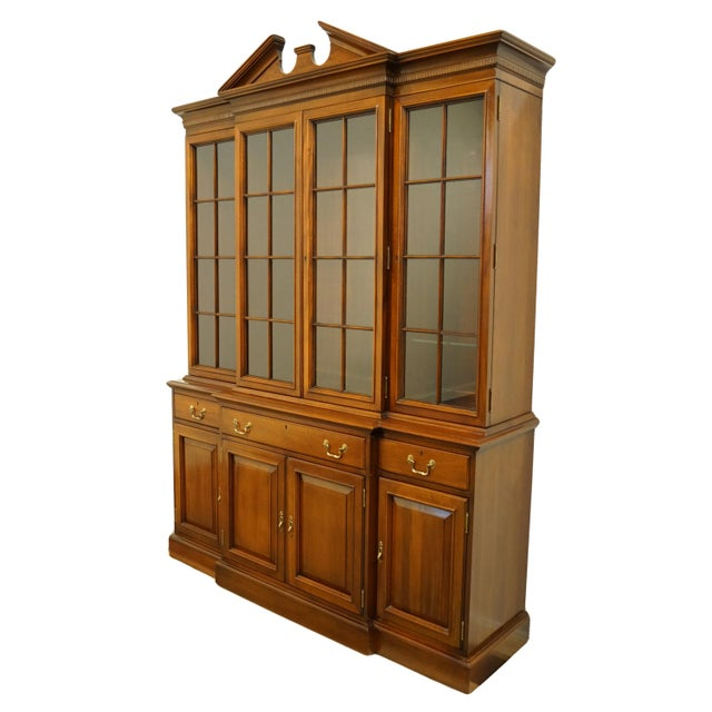 """LINK TAYLOR FURNITURE Solid Mahogany Chippendale Traditional 67"""" Breakfront Display China Cabinet 910-854/855 Comes w. Key..."""