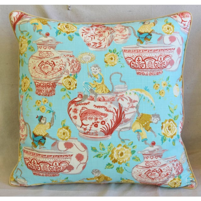 """Asian Aqua Chinoiserie Playful Monkeys & Chinese Vases Feather/Down Pillows 26"""" Square - Pair For Sale - Image 3 of 13"""