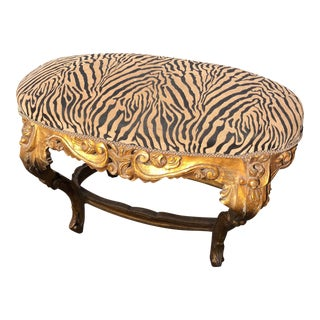 Zebra Upholstery Gilded Rococo Bench For Sale