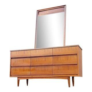 1950s Mid Century Lowboy & Mirror For Sale