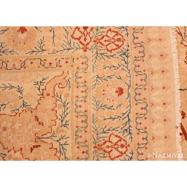 Textile Antique Tabriz Haji Jalili Persian Ivory Background Rug - 9′2″ × 12′9″ For Sale - Image 7 of 10