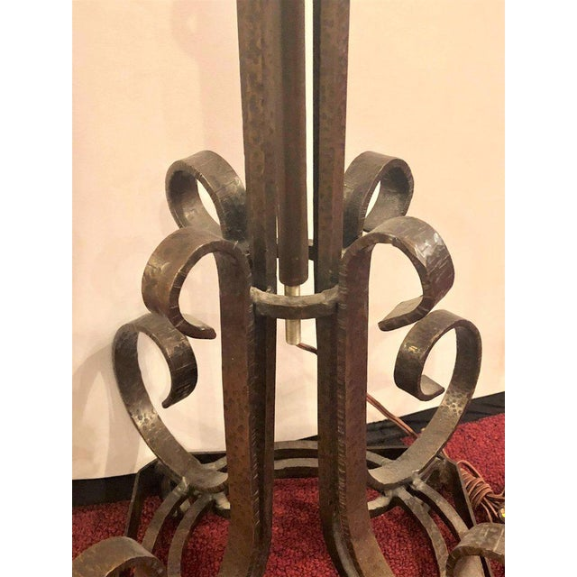 Single Solid Brass Art Deco Oscar Bach Style Standing Lamp With Globe For Sale - Image 10 of 11