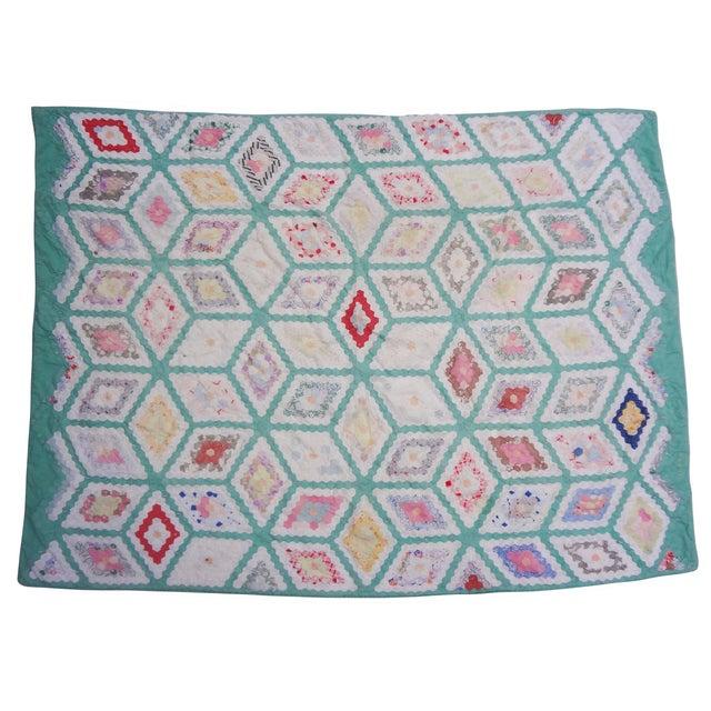 Grandmother's Flower Garden Hexagon Quilt C. 1943 For Sale - Image 6 of 10
