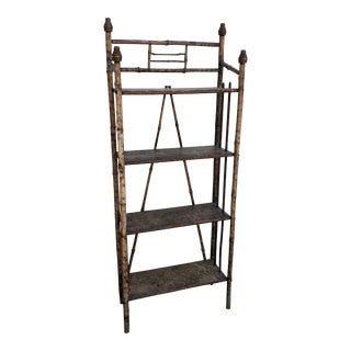Vintage English Tiger Bamboo Distressed Garden Shelf For Sale
