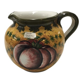 Italian Ceramic Pitcher Hand Painted Tomatoe For Sale