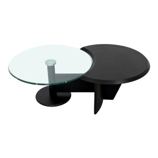 1970s Contemporary Modern Cassina Black Metal Chrome & Glass Coffee Table For Sale