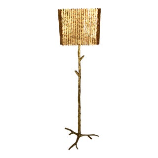 Large Signed Jacques Duval Brasseur Floor Lamp With Original Shade For Sale