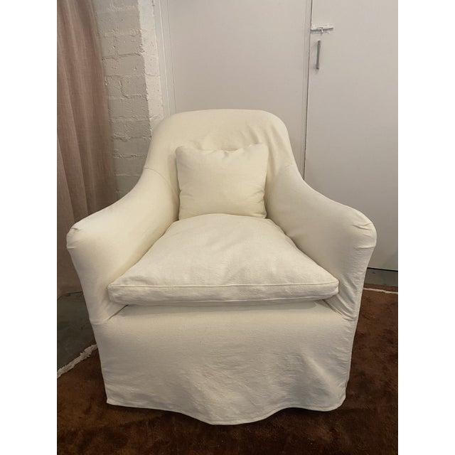 Cisco Brothers Modern Cisco Brothers Linen Slipcover Hazel Mini Swivel Chair For Sale - Image 4 of 4