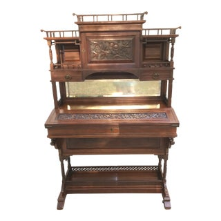 Antique British Colonial Davenport Style Secretary Desk For Sale